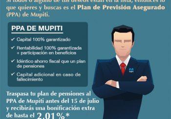 TRASPASA A MUPITI ANTES DEL 15 DE JULIO TU PLAN DE PENSIONES Y RECIBE UNA BONIFICACION DE HASTA EL 2,01%